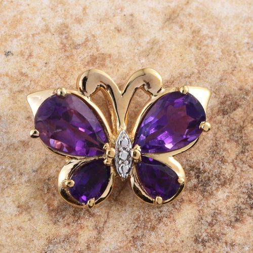 Amethyst (Pear) Butterfly Pendant in 14K Gold Overlay Sterling Silver 3.000 Ct.