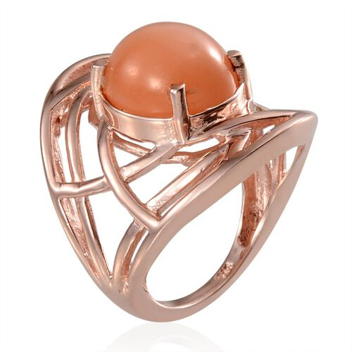 Mitiyagoda Peach Moonstone (Ovl) Solitaire Ring in Rose Gold Overlay Sterling Silver 5.000 Ct.