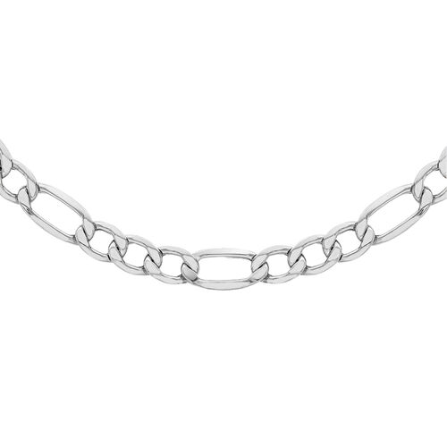 Vicenza Collection Silver Figaro Necklace with Rhodium Plating (Size 22), Silver wt 34.00 Gms.
