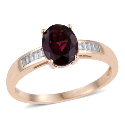 9K Y Gold Rare Mozambique Grape Colour Garnet (Ov 2.25 Ct), Natural Cambodian Zircon Ring 2.500 Ct.