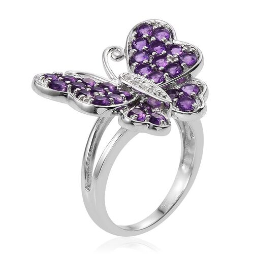 Uruguay Amethyst (Rnd), Natural Cambodian Zircon Butterfly Ring in Platinum Overlay Sterling Silver 2.500 Ct.
