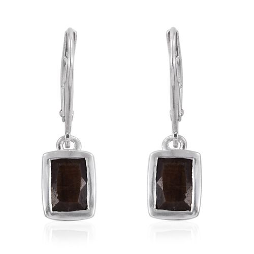Natural Zawadi Golden Sheen Sapphire (Cush) Lever Back Earrings in Platinum Overlay Sterling Silver 2.250 Ct.