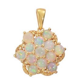 Ethiopian Welo Opal (Rnd) Pendant in 14K Gold Overlay Sterling Silver 2.500 Ct.