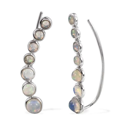 AA Ethiopian Welo Opal (Rnd) Climber Earrings in Platinum Overlay Sterling Silver 2.000 Ct.