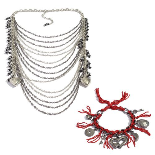 Jewels of India Glass and Bead Multi Strand Necklace and Charms Bracelet with Thread in Silver and Black Tone