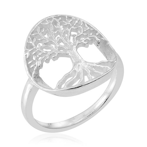 Thai Rhodium Plated Sterling Silver Tree Ring, Silver wt 3.20 Gms.