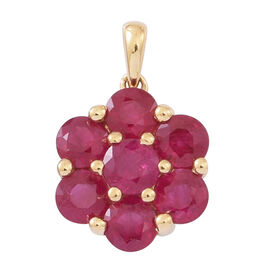Limited Edition-ILIANA 18K Y Gold AAAA Pigeon Blood Colour Burmese Ruby (Rnd) 7 Stone Floral Pendant 2.750 Ct.