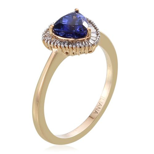 ILIANA 18K Y Gold AAA Tanzanite (Trl 1.10 Ct), Diamond Ring 1.250 Ct.