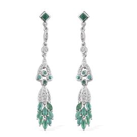 Kagem Zambian Emerald (Sqr), White Topaz Earrings (with Push Back) in Platinum Overlay Sterling Silver 2.000 Ct.