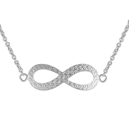Close Out Deal Rhodium Plated Sterling Silver Infinity Necklace (Size 26), Silver wt 4.50 Gms.