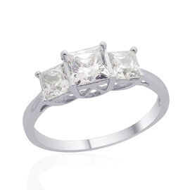 J Francis - Platinum Overlay Sterling Silver (Sqr) 3 Stone Ring Made with SWAROVSKI ZIRCONIA