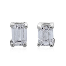 ILIANA 18K White Gold IGI Certified Emerald Cut Diamond Stud Earrings (SI/G-H) 0.400 Ct.