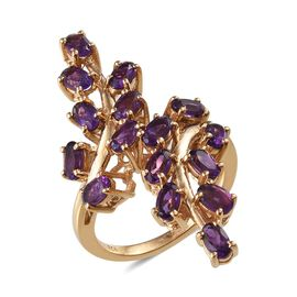 Lusaka Amethyst (Ovl) Crossover Ring in 14K Gold Overlay Sterling Silver 3.500 Ct.