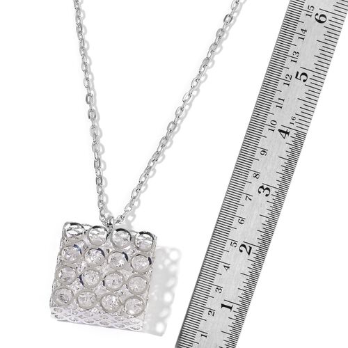 Simulated White Diamond Pendant With Chain in Silver Tone