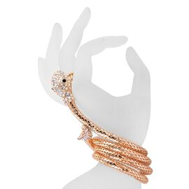 AAA White Austrian Crystal Snake Bracelet (Size 7.50) and Stretchable Ring in Yellow Gold Tone