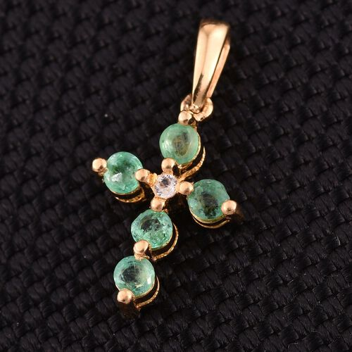 Kagem Zambian Emerald (Rnd), White Topaz Cross Pendant in 14K Gold Overlay Sterling Silver