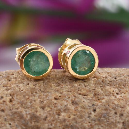 Zambian Emerald 1 Carat Solitaire Stud Earrings  in Gold Overlay Sterling Silver