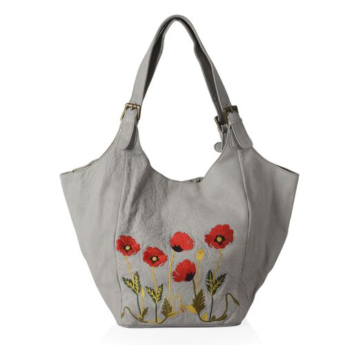 Genuine Leather Floral Embroidered Sky Blue Colour Handbag