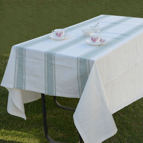 100% Cotton Olive Green Colour Stripe Pattern White Colour Table Cover (Size 150x150 Cm)