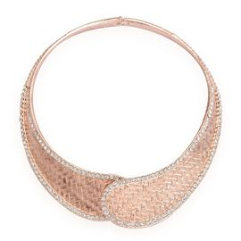 AAA White Austrian Crystal Collar Necklace (Size 16) in Rose Gold Tone