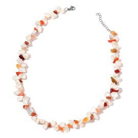 White Keshi Pearl and Multi Colour Agate Necklace (Size 18 with 1.5 inch Extender) in Stainless Steel
