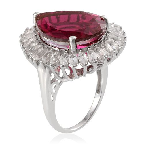 Rubelite Colour Quartz (Pear 15.75 Ct), White Topaz Ring in Platinum Overlay Sterling Silver 18.800 Ct.