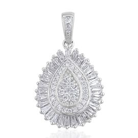 ILIANA 18K White Gold IGI Certified Diamond (Rnd) (SI/G-H) Tear Drop Pendant 1.000 Ct.