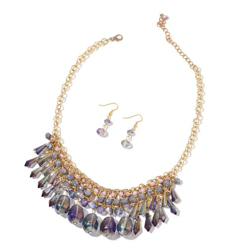 AAA Simulated Mystic Topaz, Purple and Multi Colour Beads Necklace (Size 18 with 2 inch Extender) and Hook Earrings in Yellow Gold Tone