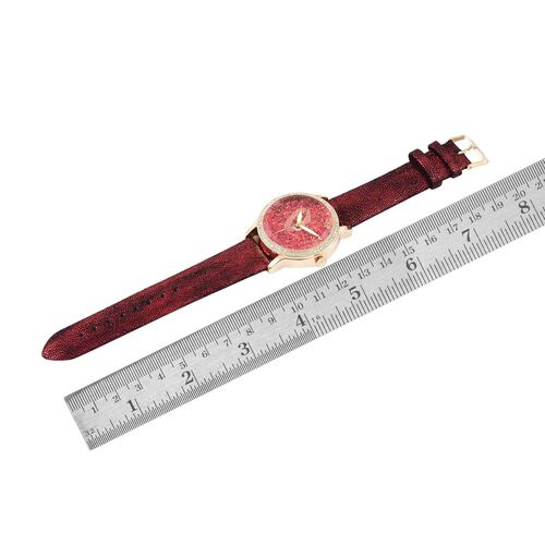 STRADA Japanese Movement Red Stardust Dial with White Austrian Crystal Water Resistant Watch in Yellow Gold Tone with Stainless Steel Back and Black and Red Colour Strap