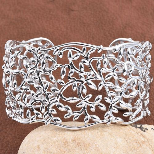 Platinum Overlay Sterling Silver Olive Leaves Cuff Bangle (Size 7.5), Silver wt 40.00 Gms.