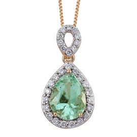 ILIANA 18K Y Gold Boyaca Colombian Emerald (Pear 1.90 Ct), Diamond Pendant With Chain 2.250 Ct.