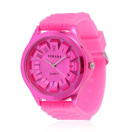 STRADA Japanese Movement Fuchsia Colour Dial Water Resistant Watch in Silver Tone with Stainless Steel Back and Fuchsia Colour Silicone Strap