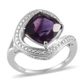 Lusaka Amethyst (Cush 3.75 Ct), Diamond Ring in Platinum Overlay Sterling Silver 3.770 Ct.