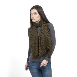100% Merino Wool Chocolate, Green and Multi Colour Chevron Pattern Scarf (Size 180x70 Cm)