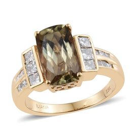 ILIANA 18K Y Gold AAA Natural Turkizite (Cush 3.90 Ct), Diamond (SI/G-H) Ring 4.750 Ct.