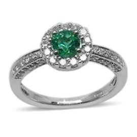 14K W Gold AAA Boyaca Colombian Emerald (Rnd), Diamond (I1/I2 G-H) Ring 0.860 Ct.