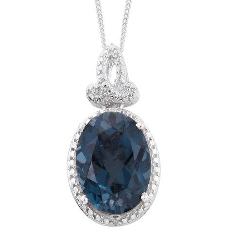 Indicolite Quartz (Ovl), Diamond Pendant With Chain in Platinum Overlay Sterling Silver 6.750 Ct.