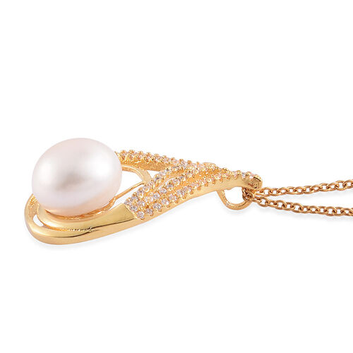 (Option 4) Fresh Water White Pearl and Simulated White Diamond Pendant With Chain (Size 18) in Gold Tone With Stainless Steel