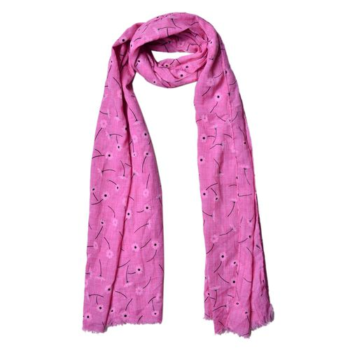 Light Pink and Black Colour Floral Pattern Dark Pink Colour Scarf (Size 180x70 Cm)