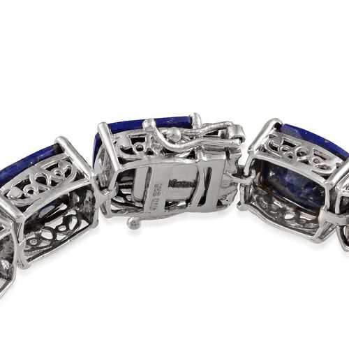 Lapis Lazuli (Cush) Bracelet in Platinum Overlay Sterling Silver (Size 7.5) 63.250 Ct.