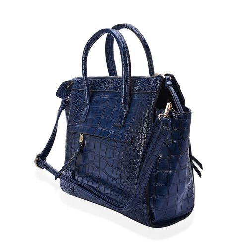 Christine Navy Blue Colour Croc Embossed Tote Bag with External Zipper Pocket and Adjustable and Removable Shoulder Strap (Size 42x30x9 Cm)