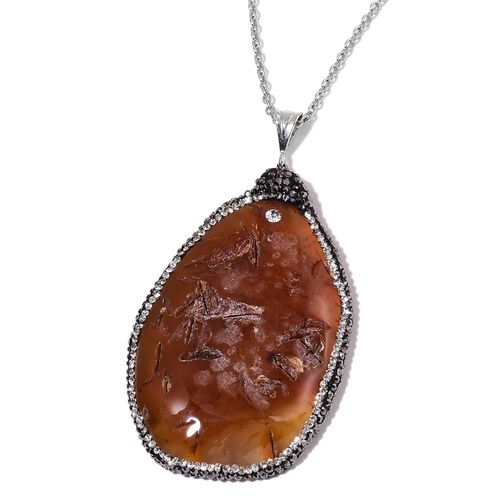Yellow Agate Enhanced, Black and White Austrian Crystal Pendant With Chain (Size 36) in Silver Tone with Stainless Steel 150.000 Ct.