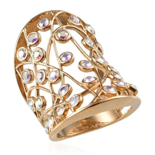 Crystal from Swarovski - AB Crystal (Rnd) Ring in 14K Gold Overlay Sterling Silver 1.400 Ct.