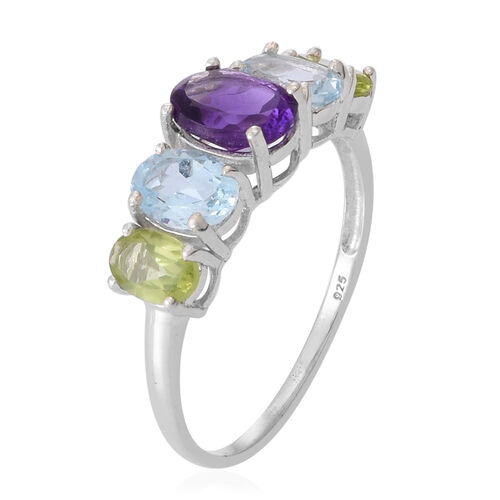 Amethyst (Ovl 1.50 Ct), Sky Blue Topaz and Hebei Peridot Ring in Sterling Silver 4.500 Ct.