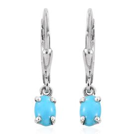 Arizona Sleeping Beauty Turquoise (Ovl) Lever Back Earrings in Platinum Overlay Sterling Silver 1.000 Ct.