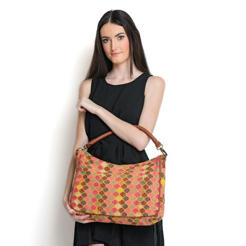 NEW SEASON Tan and Multi Colour Jacquard Handbag with Removable Strap (Size 44x25x10 Cm )