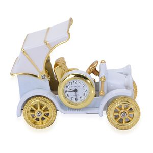 STRADA Japanese Movement White Dial Decorative British Car Table Clock in Gold Tone