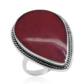 Royal Bali Collection Sponge Coral (Pear) Ring in Sterling Silver 7.520 Ct.