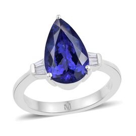 ILIANA 18K White Gold 3.75 Carat AAA Tanzanite Pear Solitaire Ring with Diamond SI G-H.
