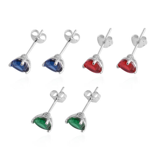 Set of 3 - ELANZA AAA Simulated Emerald (Hrt), Simulated Ruby, Simulated Tanzanite Stud Earrings (with Push Back) in Rhodium Plated Sterling Silver